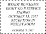 October 11, 2017 Wendy Bownman 8 Yr Service Ending Reception Photos by Ronnie Hines