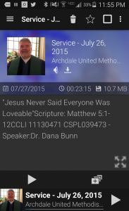 Podcast Addict Screen Shot of AUMC Service